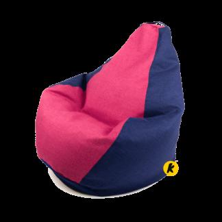 Крісло груша комбо рогожка синьо-рожевий
